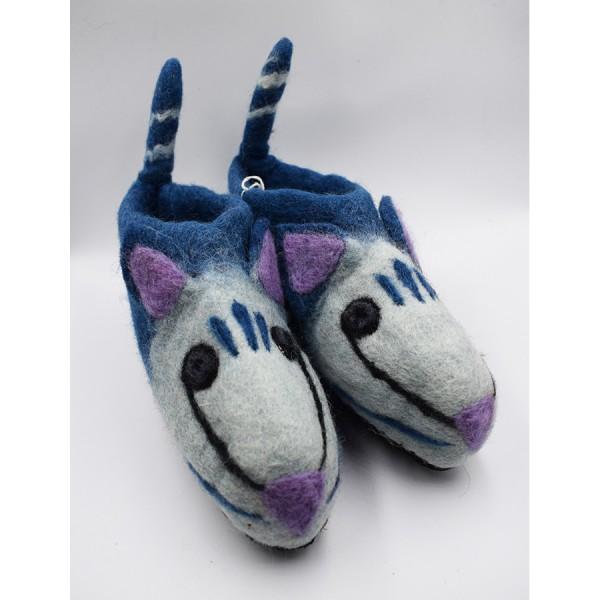 Shoe felt blue animal