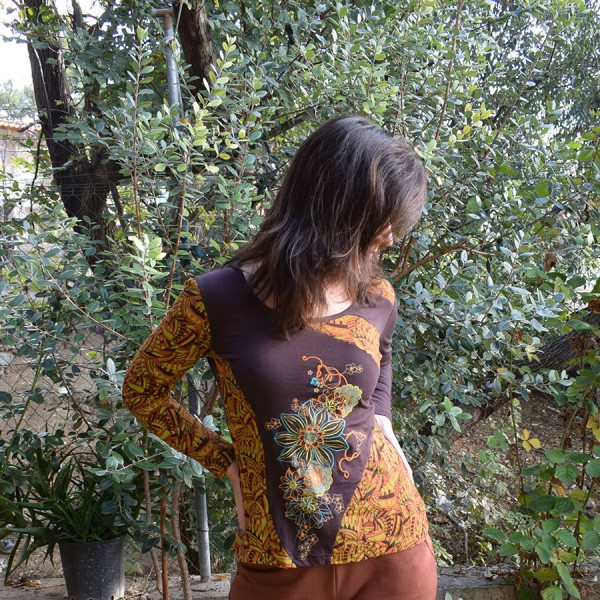 Brown  blouse with  design.