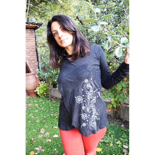 Black  blouse with  design.
