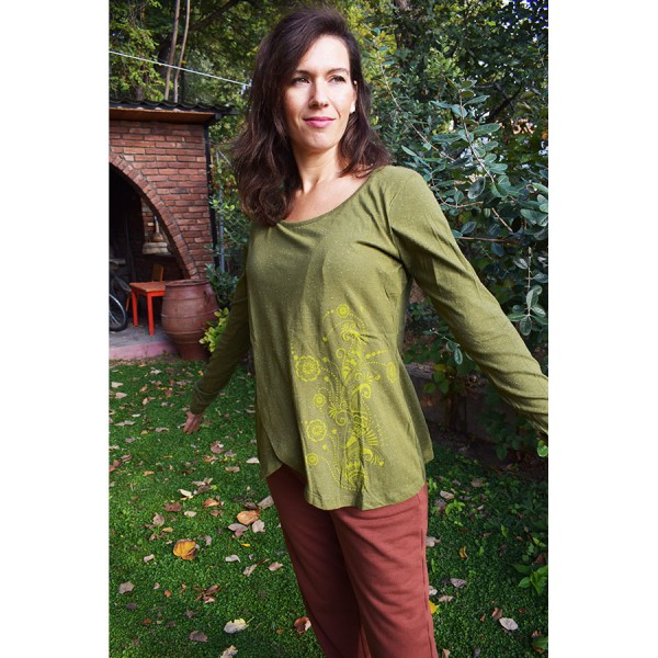 Green  blouse with  design.
