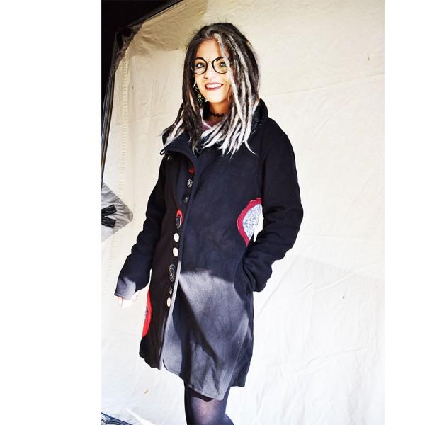 Coat  black long mantala