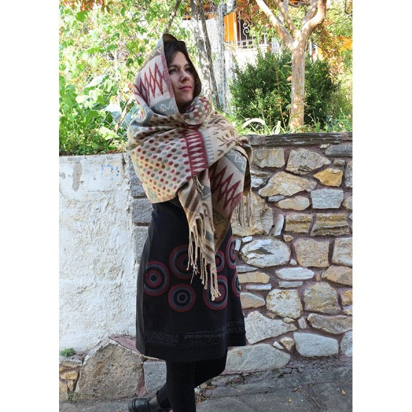 Εcru  Pashmina with Patterns