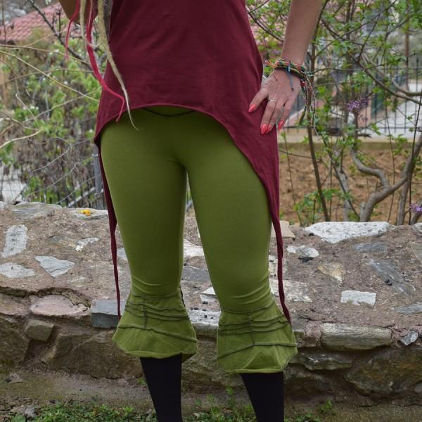 Green leggings with cornice