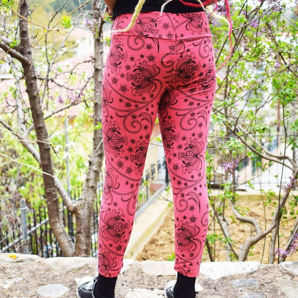 Leggings Pink with Flowers