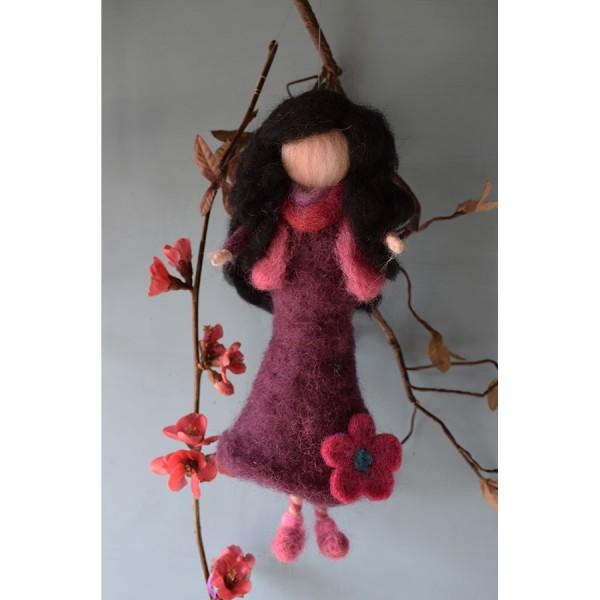 Doll Purple  waldorf merinos wool with black hair