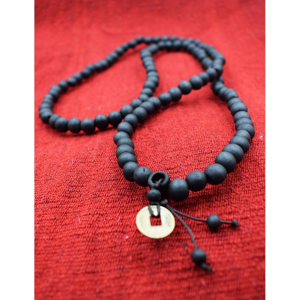 Neckace black malas with wooden beads  with rubber10mm