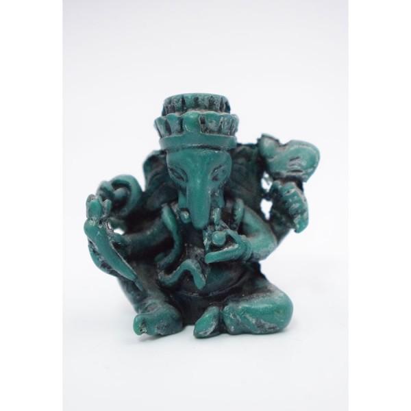 Miniature Ganesh green Seated