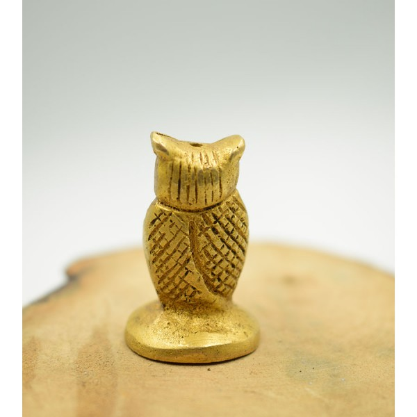 Minature Owl Brass Base for Stick Indian