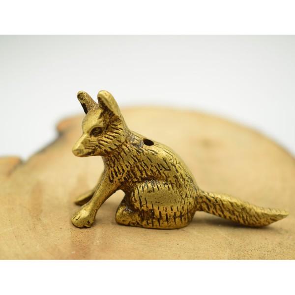 Miniature Wolf  Brass  Stick Indian