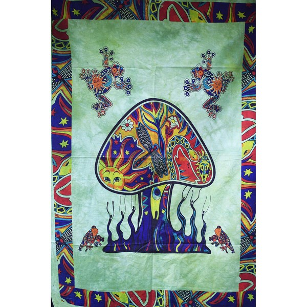 Green small mushroom wall cloth