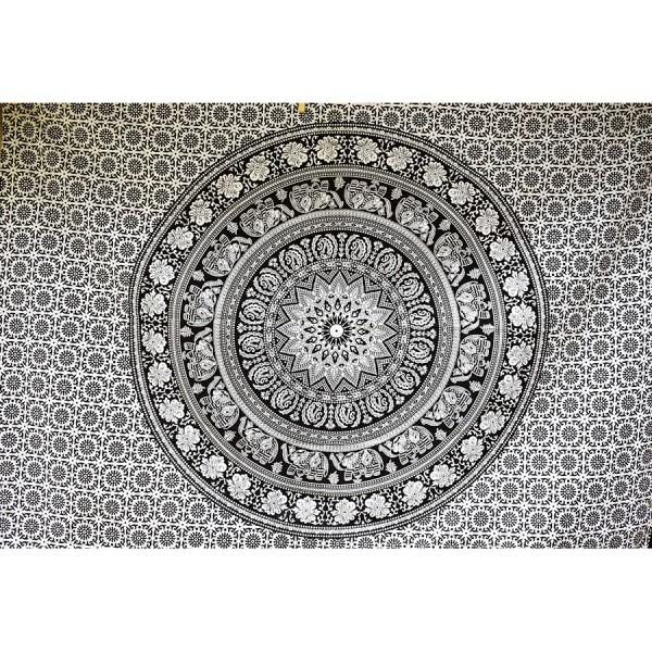 Mandala white-black small wall cloth