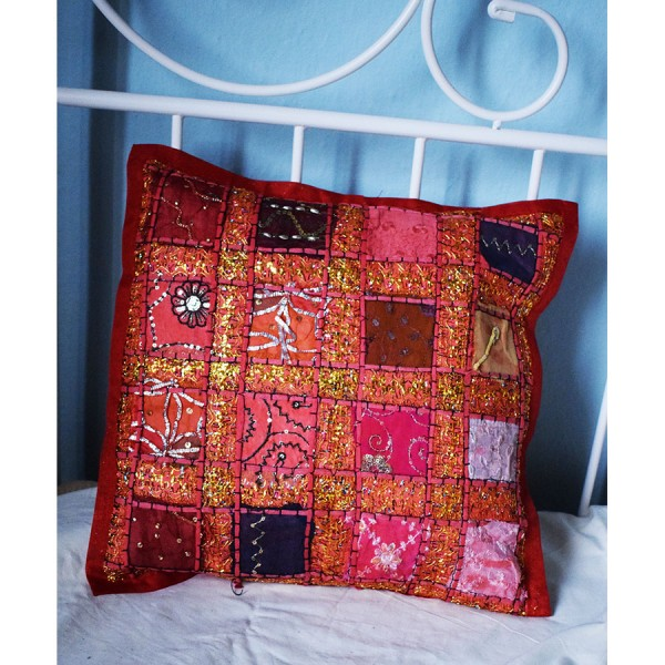 Pillow case red with embroidery.