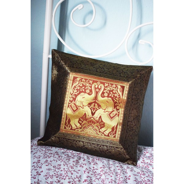 Brown silk pillowcase with two elephants