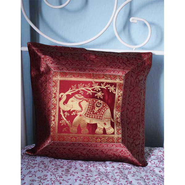 Red silk pillowcase with elephants