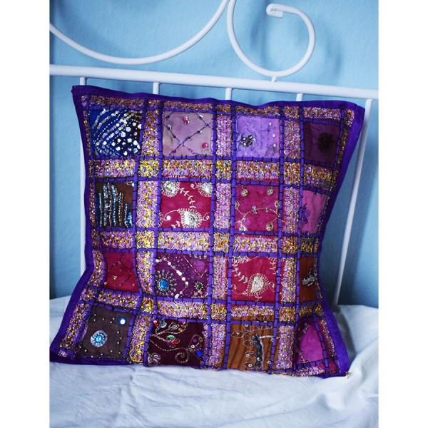 Pillow case  purple with embroidery.