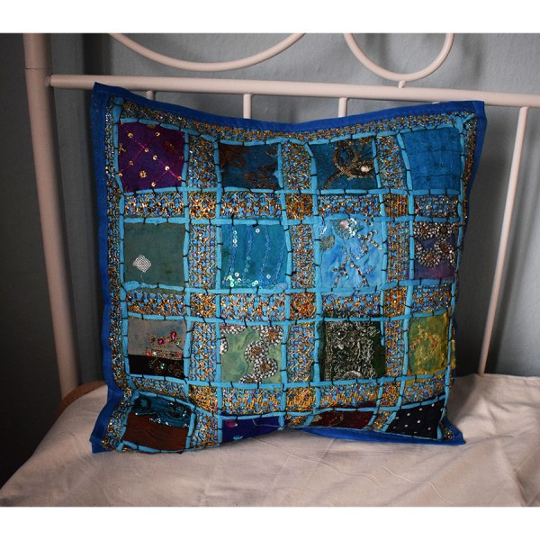 Pillow case  blue with embroidery.