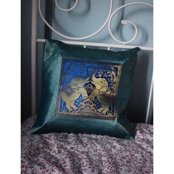 Siel silk pillowcase with two elephants