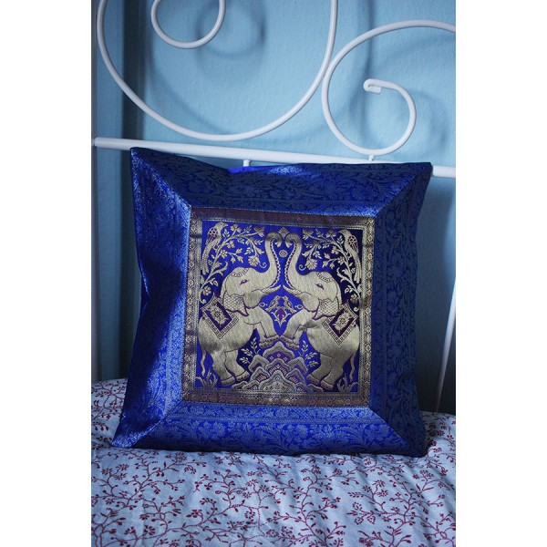 blue silk pillowcase with two elephants