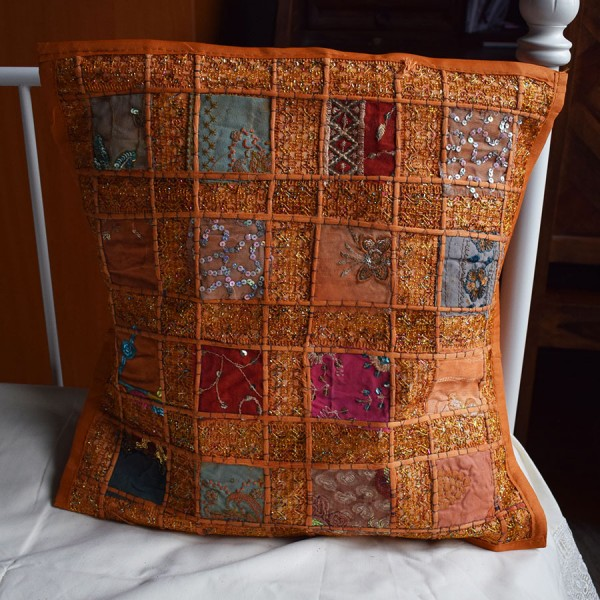 Pillow case Orange with embroidery.