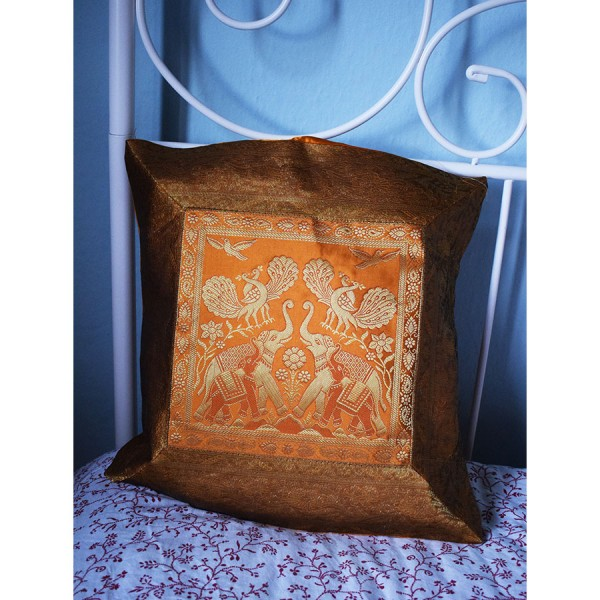 Orange silk pillowcase with two elephants