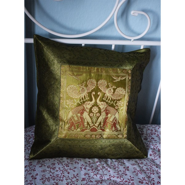 Green silk pillowcase with two elephants