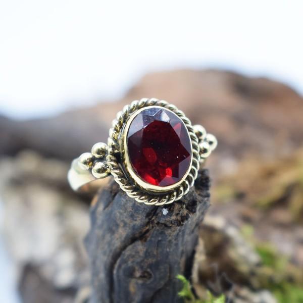 Ring Brass Red Flower