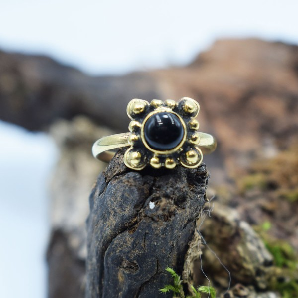 Ring Brass Black Onyx Margarita