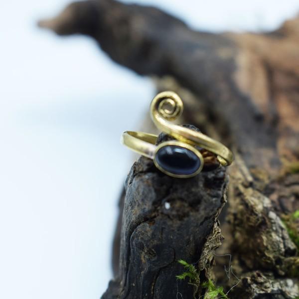 Ring Amethyst Brass Spiral