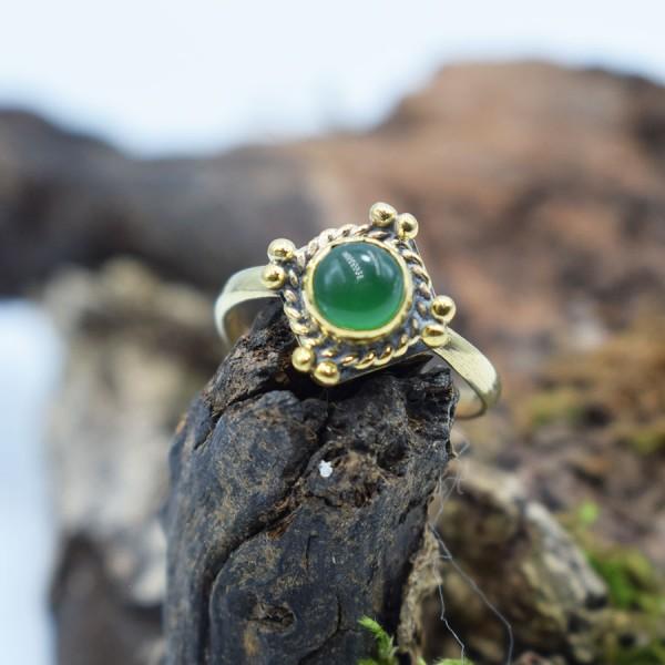 Ring Brass Green Agate Margarita