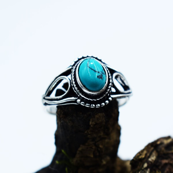 Ring White Metal Turquoise Tear Oval