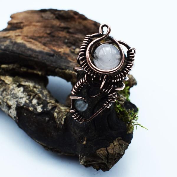 Handmade pink quartz Double Ring.