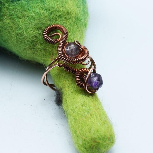 Ring handmade amethyst double medium