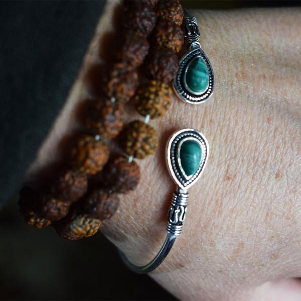 white metal turquoise tear bracelet