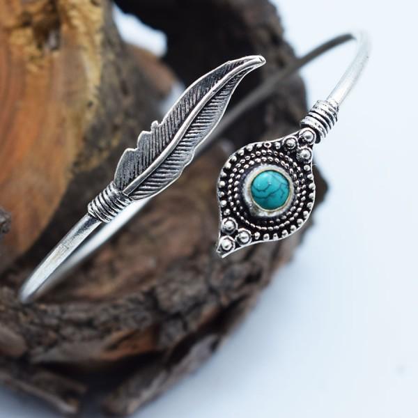 white metal turquoise feather bracelet