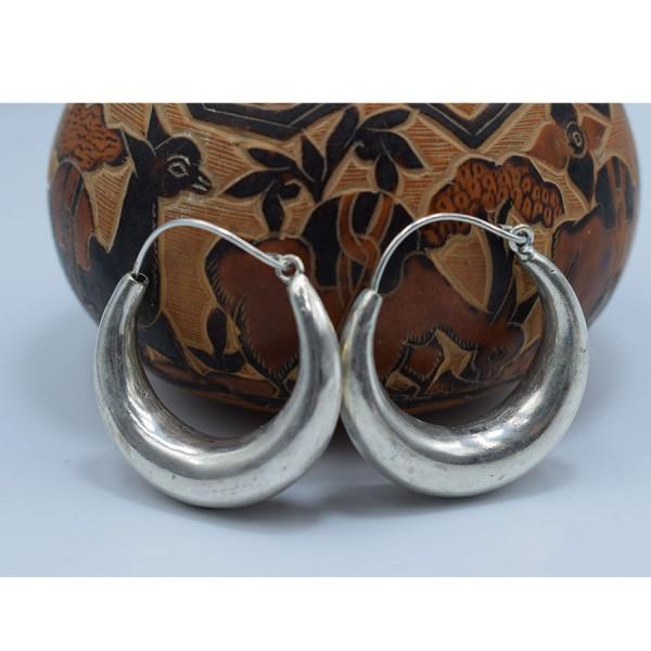 Ηooks  Earrings White metal second   size  simple .
