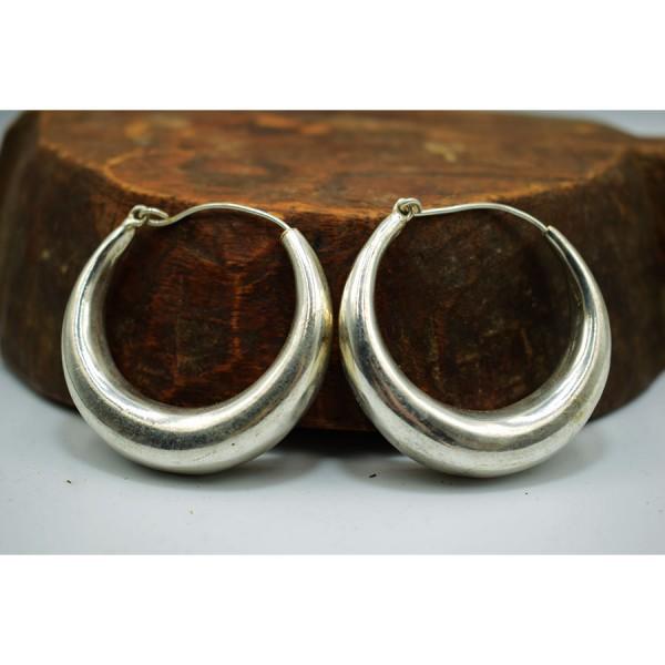 Ηooks  Earrings White metal  forth size  simple .