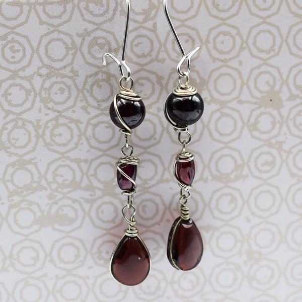 Handmade teardrop garnet earrings