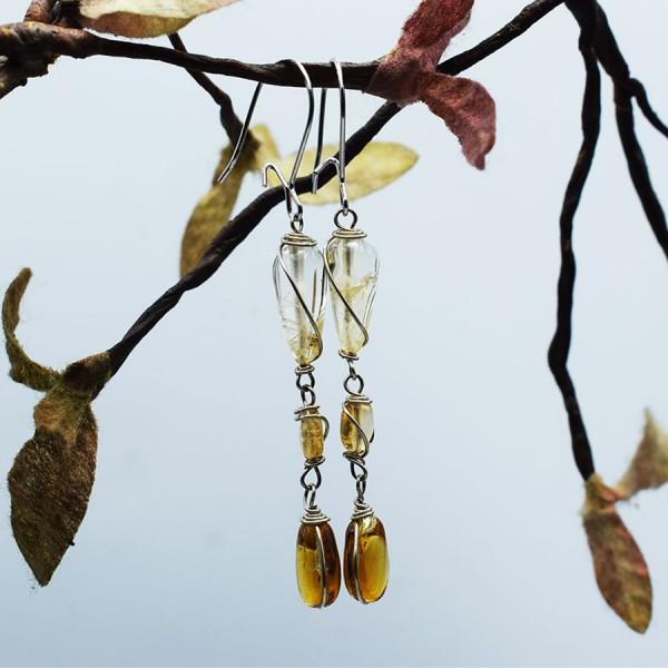Handmade teardrop citrine earrings