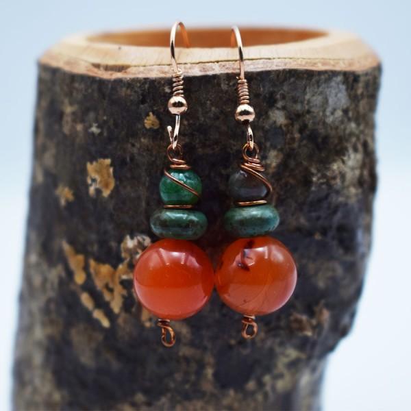 Handmade large corneol earrings