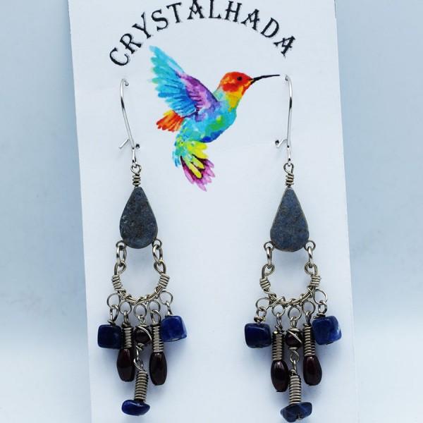 Handmade lapis lazuli hippie earrings