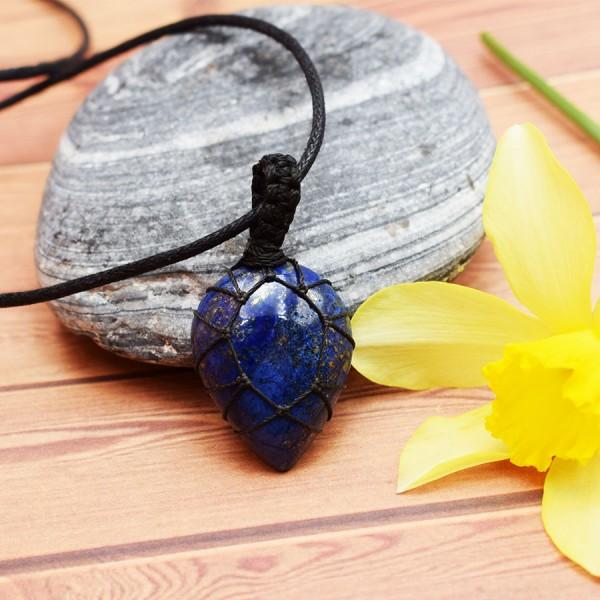 Macrame Neck Crystal Lapi Lazuli Tear